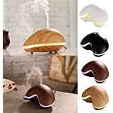 Kangkang@ Cashew Shaped Home Office Ultra-silent Colorful LED Light Touch Button Mist Ultrasonic Aroma Diffuser Air Humidifier Mist Maker (black)