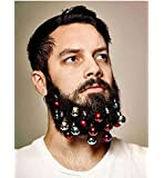 Beard Ornaments Christmas Beard Baubles Colorful Christmas Facial Ornaments for man Gold Silver Green Red By Woods World