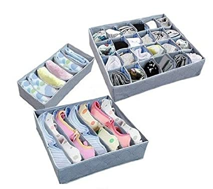 Comicfs Bamboo Fabric Collapsible Closet Drawer Organizer Socks Bra Underpants Tie Storage Boxes [Set of  sc 1 st  Amazon.com & Amazon.com: Comicfs Bamboo Fabric Collapsible Closet Drawer ...
