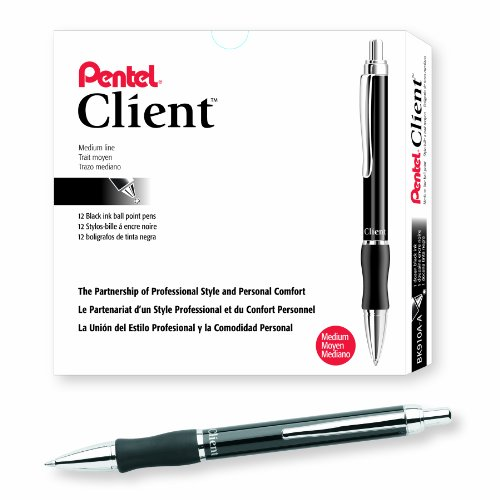 Pentel Client Retractable Ballpoint Pen, Medium Line, Black Barrel, Black Ink, Box of 12 (BK910A-A) (Pen Pentel Ballpoint Client Retractable)