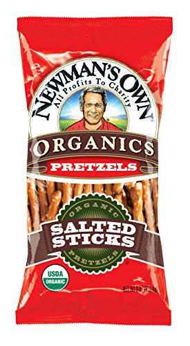 Sticks Organic Salted - Newman's Own Organics Pretzels, Salted Sticks, 8-Ounce Bags (Pack of 12)