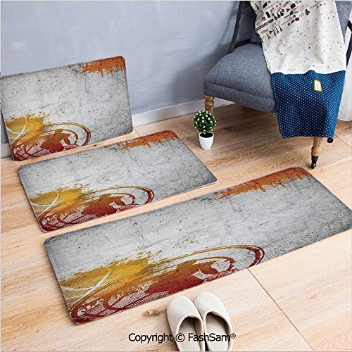 - FashSam 3 Piece Non Slip Flannel Door Mat Basketball Streetball and Paint Stains Image on Concrete Wall Rustic Decoration Indoor Carpet for Bath Kitchen(W15.7xL23.6 by W19.6xL31.5 by W19.6xL59)