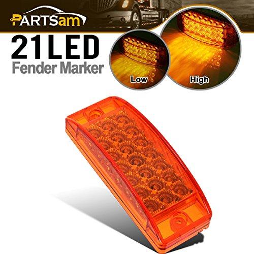 Partsam Sealed, Rectangular LED Trailer Clearance, Side Marker Light, 21 Diodes - (Gmc Sierra 1500 Rear Fender)