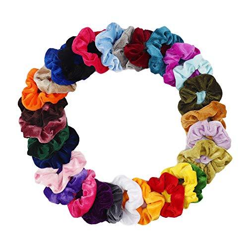 CN 30Pcs Velvet Hair Scrunchies Scrunchy Elastic Hair Bands Bobbles Ties Ponytail Holder for Women Girls Kids