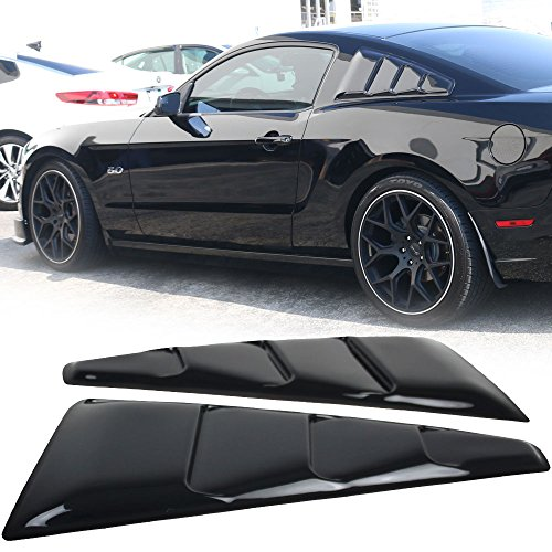 Trunk Spoiler Fits 2005-2014 Mustang | Quarter Panel Translucent Smoked Window Side Louvers Tail Deck Lid Bodykit by IKON MOTORSPORTS |  2006 2007 2008 2009 2010 2011 2012 - Window Motor Quarter