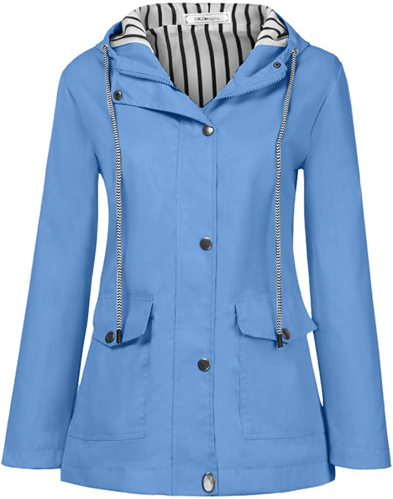 KYLEON Womens Outdoor Windbreaker Waterproof Raincoat Outdoor Sports Jacket Drawstring Hooded Blouse Tops