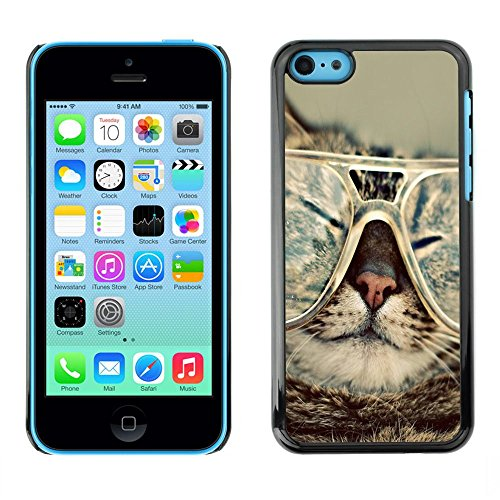 GooooStore/Housse Etui Cas Coque - Cat Glasses Slpeeping Funny Portrait Art - Apple iPhone 5C