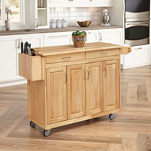 - Home Styles 5023-95 Wood Top Kitchen Cart with Breakfast Bar, Natural Finish