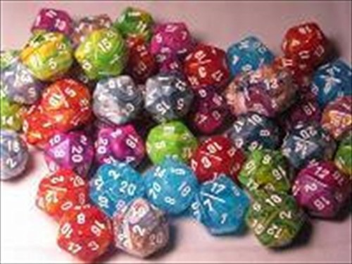 Chessex Manufacturing LE855 Assorted D20 Dice 7 Bag - 50 by Chessex Manufacturing