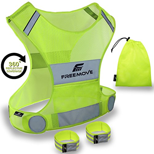 Reflective Vest for Running Cycling Dog Walking | High Visibility & Comfortable | Reflective Running Gear Vest | Motorcycle Reflective Safety Vest with Pockets | Bike Reflector Vest | 2x Armband & Bag