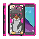 TurtleArmor | Compatible for Samsung Galaxy J3 Emerge Case | J3 (2017) [Clip Caliber] High Impact Shockproof Silicone Armor Kickstand Holster Belt Clip Pink Case - Cute Penguin