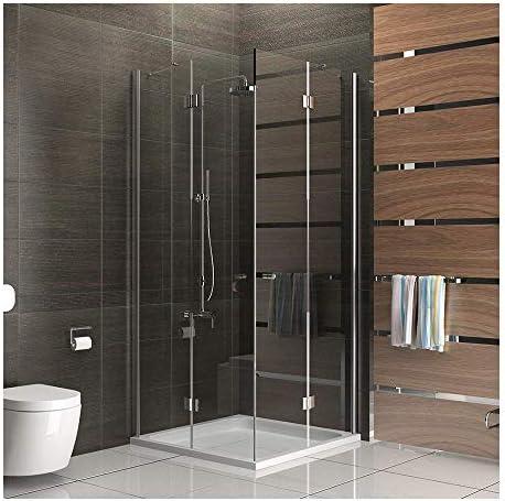 maximale /Öffnung durch Faltt/üren WEISS 70x90 cm Eckeinstieg H/öhe 175 cm Duschkabine Duschabtrennung in PVC Kunststoff