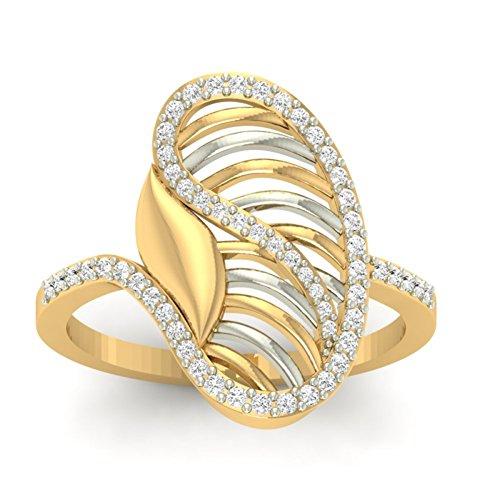 14K Or jaune 0,34CT TW Round-cut-diamond (IJ | SI) en diamant