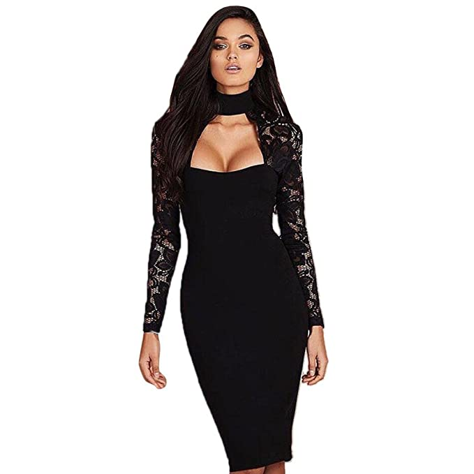 Damen Kleider, GJKK Damen Patchwork Lace Abendkleid Langarm ...