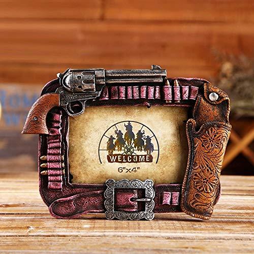 RIOS Western Vintage Cowboy Gun Styling Photo Frame Creative Home Study Bar Cafe Decoración Marco de Fotos de Resina...