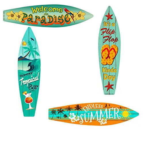 Bundle: Home Decor Metal Surfboard Beach Signs - Welcome To Paradise Sign, Endless Summer Sign, Tropical Bar Sign and Flip Flop Sign ()