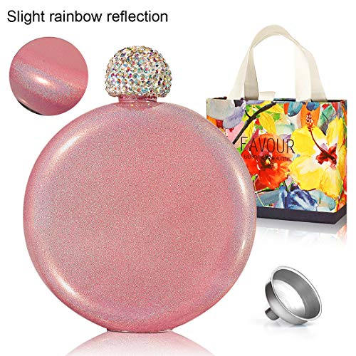Menghao Shot Flask for Liquor- with Crystal Lid Funnel 304 18/8 Stainless Stain Rainbow Paint 5oz Hip Flask for Women(Pink)