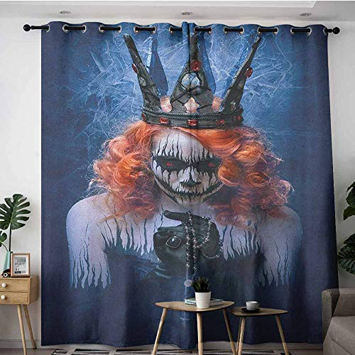 AGONIU Thermal Insulated Blackout Curtains,Queen Queen of Death Scary Body Art Halloween Evil Face Bizarre Make Up Zombie,Darkening Thermal Insulated Blackout,W96x72L Navy Blue Orange Black -