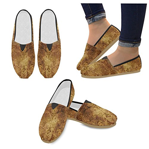 D-story Fashion Sneakers Flats Mujeres Classic Slip-on Canvas Zapatos Mocasines Mapa Del Mundo