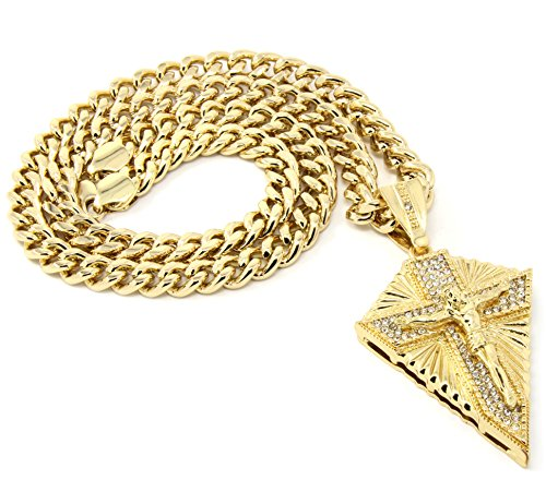 (Mens Gold Plated Iced Out Hip Hop Arrow Cross Pendant 36