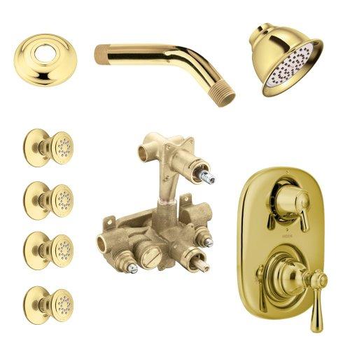 - Moen KSPKI-SB-263P Kingsley Vertical Spa Kit with Shower, Head, Arm and Flange, Polished Brass
