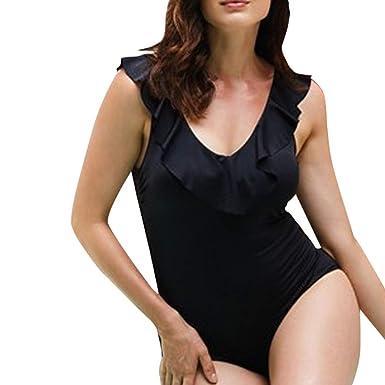 Internet_Bikini de una Pieza de Gran tamaño, Sexy y sólido para Mujer, Ajustado Sujetador Beachwear con Volantes Sexy sin Espalda,Bikini brasileño niña Push ...