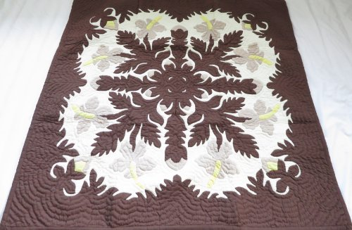 Hawaiian Quilt, Wall Hanging, Baby Crib Blanket, 100% Hand Quilted and 100% Hand Appliqued 42
