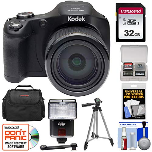 KODAK PIXPRO AZ652 Astro Zoom Digital Camera (Black) with 32GB Card + Case + Flash + Tripod + - Movie Camcorder Pix