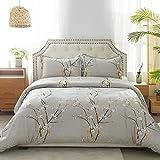 100 cotton duvet covers  100% Cotton Duvet Cover Set Full/Queen Size (90x90 inches) - Plum Blossom Pattern - 3 Pieces (1 Duvet Cover + 2 Pillow Shams), Duvet Covers with Zipper Closure, Corner Ties