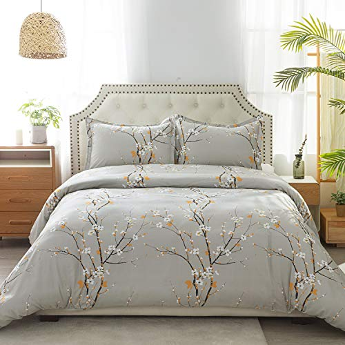 100% Cotton Duvet Cover Set Full/Queen Size (90x90 inches) - Plum Blossom Pattern - 3 Pieces (1 Duvet Cover + 2 Pillow Shams), Duvet Covers with Zipper Closure, Corner Ties