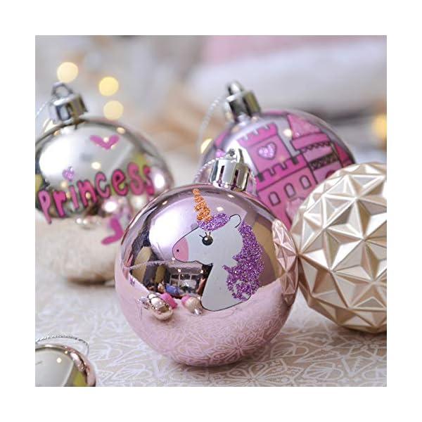 Valery Madelyn Palle di Natale 9 Pezzi 6 cm Palline di Natale, Decorazioni Natalizie Infrangibili Ricoperte di Zucchero Rosa e Oro per la Decorazione Dell'Albero di Natale 7 spesavip