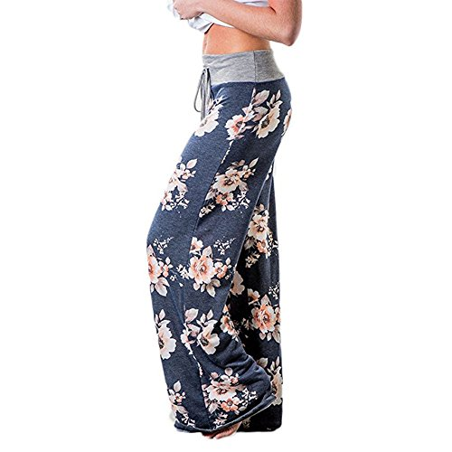 Roselux Women's Floral Print Casual Loose Baggy High Waist Tie Long Pants(Navy (Floral Wide Leg Trouser)