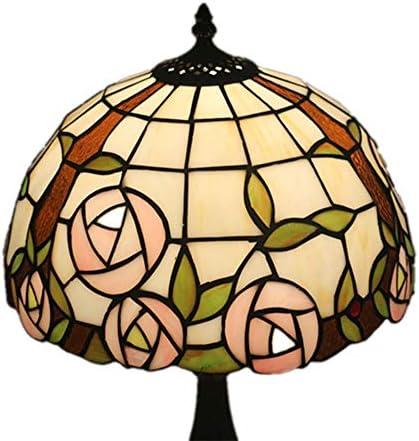 ティファニースタイルのベッドルームベッドサイドランプカフェスタディバーアメリカンカントリー装飾ステンドグラスロマンチックテーブルランプ WELSUN (Size : Antique Zinc Base)