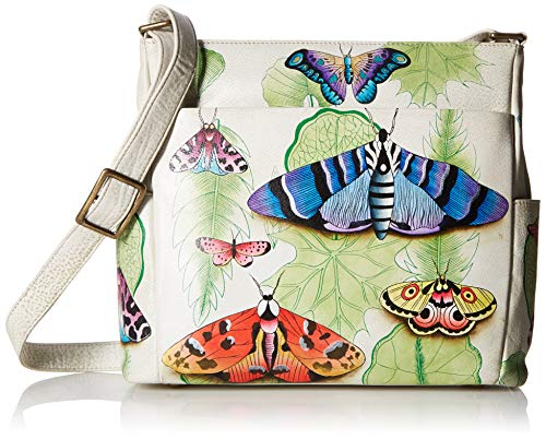 (Anna by Anuschka Hand Painted Leather Women's Crossbody with Side Pockets, Vintage Botanical )