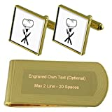 Chef Hat Spoon Gold-tone Cufflinks Money Clip Engraved Gift Set