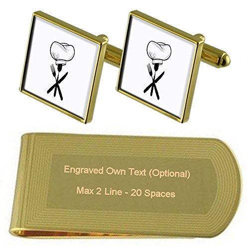 tone Clip Money Gold Cufflinks Hat Set Spoon Gift Chef Engraved CxwtY7qw