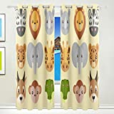 Vantaso Window Curtains 84 Inch Long Cute Forest Animal Head for Kids Girls Boys Bedroom Living Room Light Shading Polyester 2 Pannels