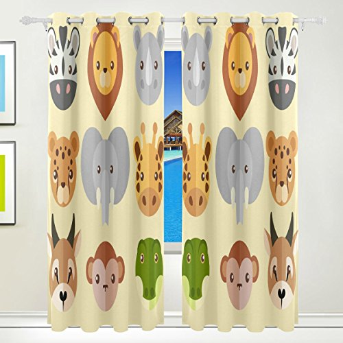 Vantaso Window Curtains 84 Inch Long Cute Forest Animal Head for Kids Girls Boys Bedroom Living Room Light Shading Polyester 2 Pannels by Vantaso