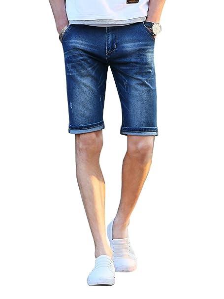 8a41e3d58949c OCHENTA Homme Shorts Jean Pantacourt Chino Slim Eté Denim Bermuda Jeans Bleu -27