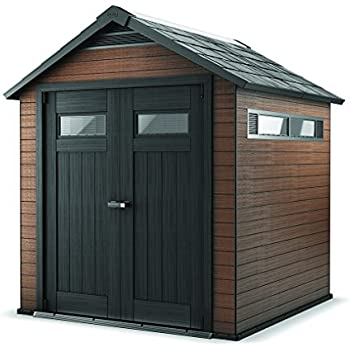wood and plastic composite outdoor storage shed mahogany