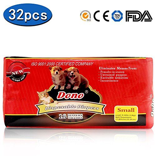 Female Doggie Diaper - DONO Disposable Doggie Diapers Female Cute Girl Small Dog Diapers,32pcs,S