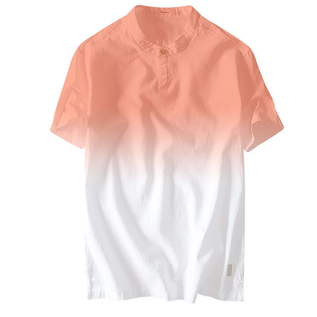 Sharemen Linens Men's Slim Fit Dip Dye Short Sleeve Linen Cotton Tropical Hawaiian Shirt (Red,2XL)