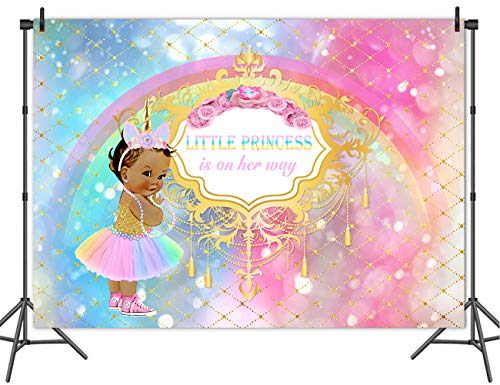 (Mehofoto Unicorn Baby Shower Backdrop Princess Rainbow Sparkle Photography Background 7x5ft Vinyl African American Girl Party Backdrops Banner Decoration)