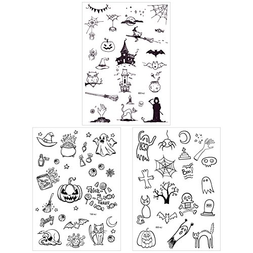 SpringPear 3x Temporary Horror Tattoo Luminous Sticker for Halloween Party Waterproof Tattoo with Pumpkin Ghost Skeleton Set Glowing in the Dark (3 Pcs Le-006 Le-007 Le-008)]()