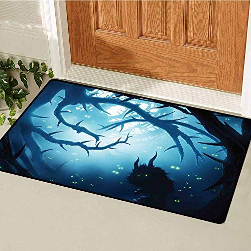 Gloria Johnson Mystic Decor Commercial Grade Entrance mat Animal with Burning Eyes in Dark Forest at Night Horror Halloween Illustration for entrances garages patios W15.7 x L23.6 Inch Navy White
