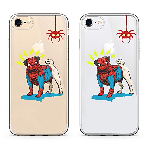 idocolors Dog Case for iPhone 8 Cute Spide for Boys & Girls Animal Case for iPhone 7 Clear Design Soft TPU Cover Slim Bumper Protective for iPhone 7/8 -