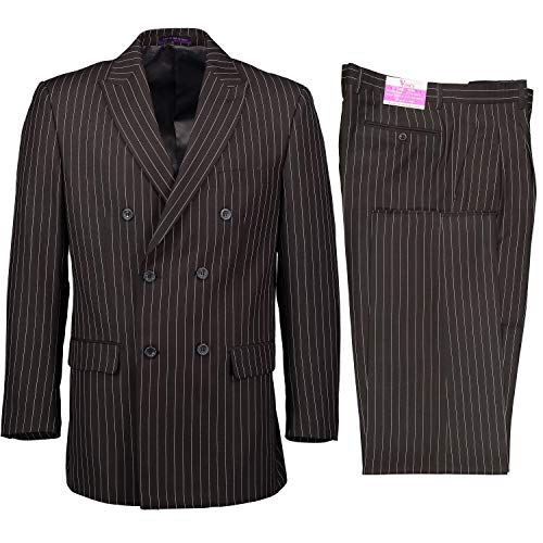 VINCI Men's Gangster Pinstriped Double Breasted 6 Button Classic Fit Suit Charcoal Gray | Size: 40 Short / 34 Waist