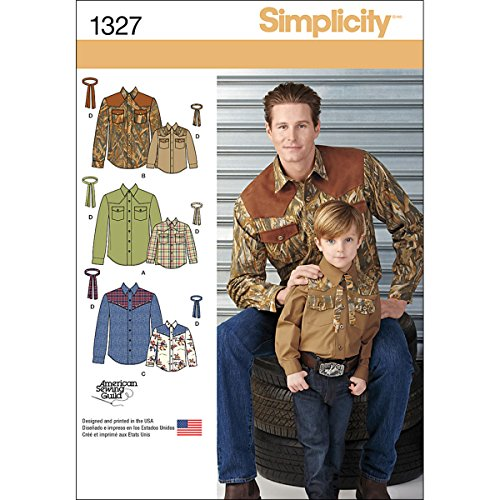 Simplicity American Sewing Guild Pattern 1327 Western Shirt and Tie, Boys Chest 22-27 (S-L) Men's Chest 34-48 (S-XL)