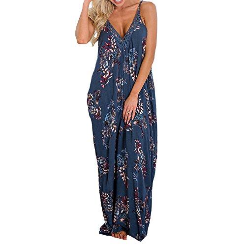 Encolure Maxi Bretelles Sexy Robe Femme V Kingwo Bleu pour Bohmienne Imprime en Robe UEZZc5