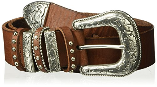 Nocona Belt Co. Women's Multi Keeper Buckle Set Belt, Brown, (Multi Buckle Belt)